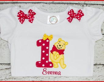 dc5f7685e Winnie the Pooh Bear Personalized Birthday Tee shirt or Onesie Applique
