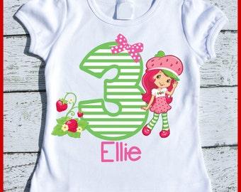 Custom Personalized Strawberry Shortcake Birthday tee shirt