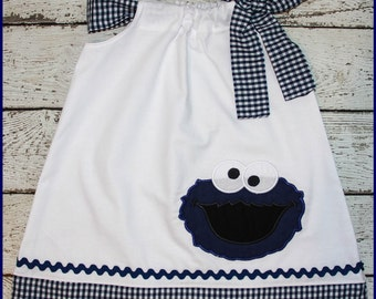 Super Cute Navy Gingham Cookie Monster Pillowcase style dress