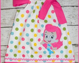 Molly Bubble Guppies Pillowcase style dress Pretty Polka dot and hot pink