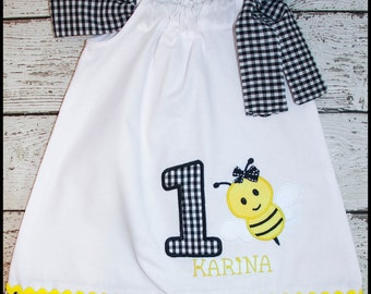 Sweet Little Bumble Bee  Birthday Pillowcase style dress name and age included  gingham bee  dress