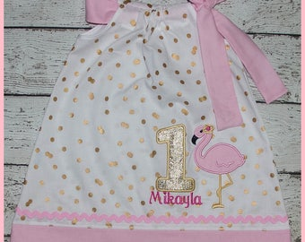 Super Cute Pink and Gold Flamingo Birthday Pillowcase style dress name and age included