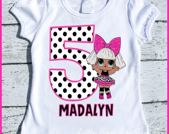Custom Personalized Doll Diva Glitter  Birthday tee shirt