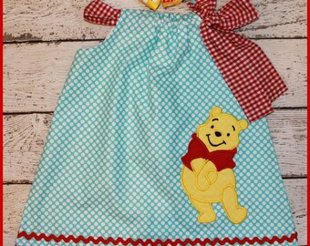 Winnie the Pooh Bear  Pillowcase style dress  matching hair bow available