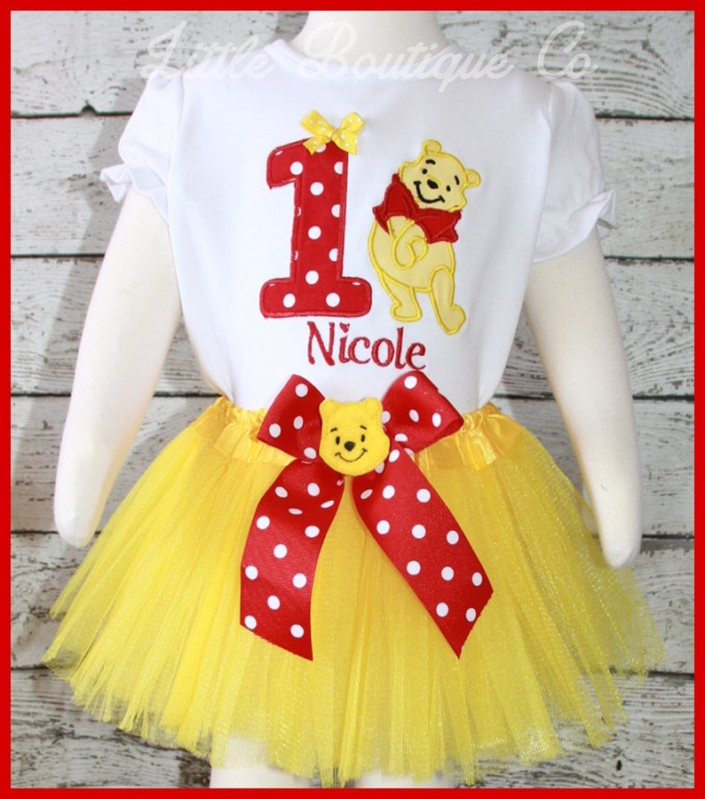5ceaeb41c85b Super Cute Winnie the Pooh Bear Birthday tutu outfit