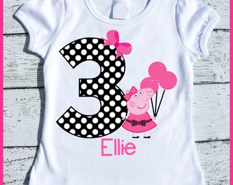 Custom Personalized Party Peppa Peppa Pig Birthday tee shirt