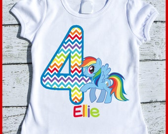 Custom Personalized Rainbow Dash Pony Birthday tee shirt