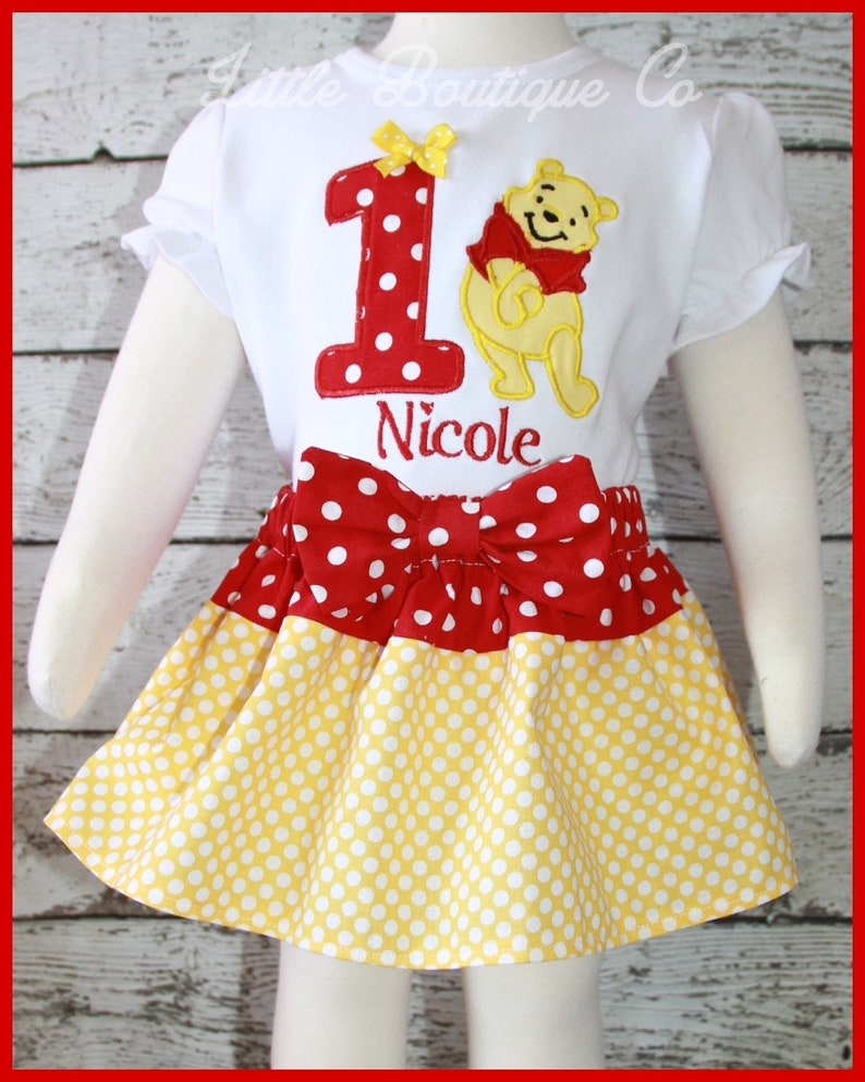 1d6484b953a7 Super Cute Winnie the Pooh Bear Birthday Skirt outfit Name and
