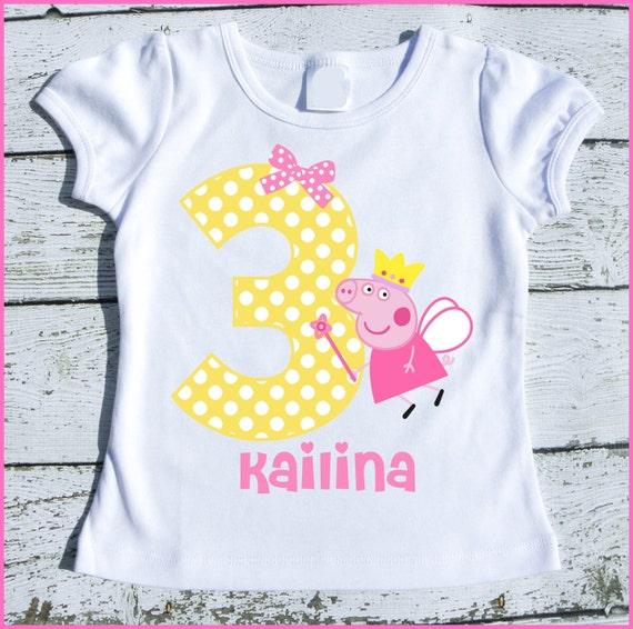 Custom Personalized Peppa Fairy Pig Birthday Tee Shirt Yellow