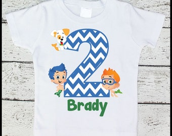 Custom Personalized Boys Bubble Guppies Birthday tee shirt Gil Nonny