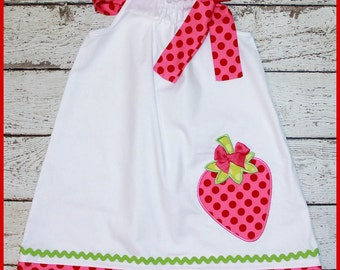 Sweet Strawberry Pillowcase style dress