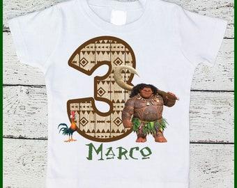 Custom Personalized Moana Maui Boys  Birthday tee shirt