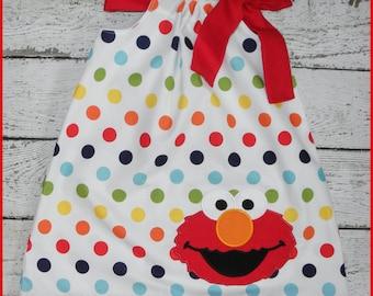 Rainbow Polka dot Sesame Street Elmo Pillowcase style dress