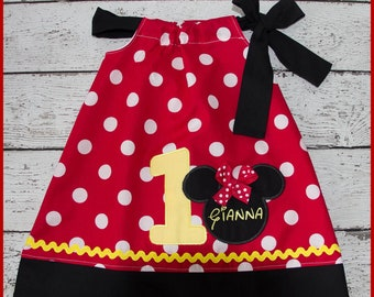 Minnie Mouse Birthday Pillowcase style dress name and age included
