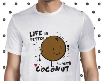 Coconut T Shirt Vegan Men's T-shirt Cute Vegan Shirt Plant-based Tee Fruit Tee Cute Vegan Tee Vegetarian Tee Funny Vegan Tshirt Planteeful