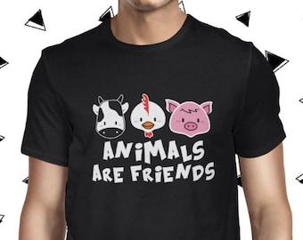 Animal Rights T-shirt for Men - Animals are Friends Vegan Tee - Vegan Tshirt - Mens Vegan Clothing - Funny Tee - Vegetarian - Plant-based