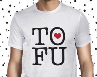 Tofu Shirt for Men - Vegan Tofu Love Shirt - Men's Vegetarian T Shirt - Plant-based T-shirt - Statement Vegan Tee - NY Love Tofu Tee Shirt