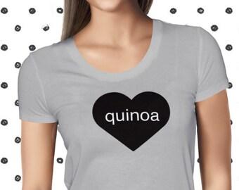 Love Quinoa T-shirt for Women - Vegan Women's Shirt - Funny Quinoa Tshirt - Pun Healthy Tee - Plant-based T Shirt - Vegetarian T-shirt