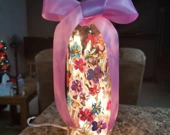 Painted wine bottle - Flowers