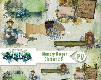 Digital Scrapbooking Clusters set of 5 - MEMORY KEEPER premade embellishment png clusters to make immediate scrap page