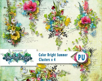 Digital Scrapbooking Clusters set of 4 COLOR BRIGHT SUMER premade embellishment png clusters to make immediate scrap page