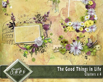 Digital Scrapbooking Clusters set of 4 plus THE GOOD THINGS in LIFe premade embellishment png clusters to make immediate scrap page