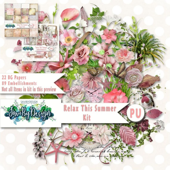 Digital Scrapbooking Relax This Summer Kit Packed Full Of Etsy
