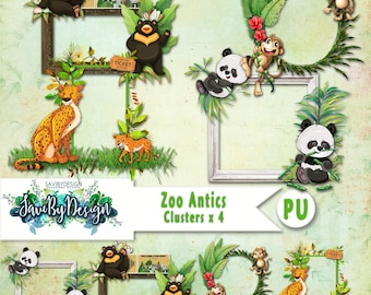 Digital Scrapbooking Clusters set of 4 - ZOO ANTICS premade embellishment png clusters to make immediate scrap page