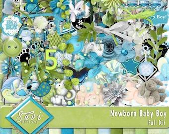 Digital Scrapbooking Kit, NEWBORN BABY BOY lots of flowers, baby items, stamps foliage plus wordstrips lots of papers