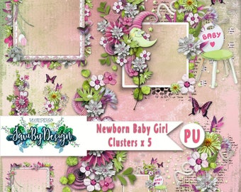 Digital Scrapbooking Clusters set of 5 NEWBORN BABY GIRL premade embellishment png clusters to make immediate scrap page