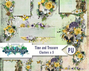 Digital Scrapbooking Clusters set of 5 - TIME AND TREASURE premade embellishment png clusters to make immediate scrap page
