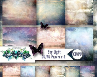 CU Commercial Use Background Papers set of 6 for Digital Scrapbooking or Craft projects SKY LIGHT, Designer Stock Papers
