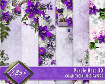CU Commercial Use Background Papers set of 6 for Digital Scrapbooking or Craft projects PURPLE Haze, 3D Papers, Designer Stock Papers