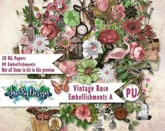 Digital Scrapbooking Kit Vintage Rose Roses foliage suitable for vintage and modern Scrap Pages in Pastel colourss