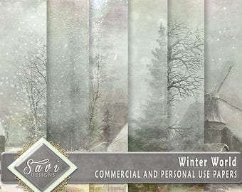 CU Commercial Use Background Papers set of 6 for Digital Scrapbooking or Craft projects WINTER WORLD Papers, Designer Stock Papers