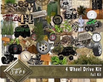 Digital Scrapbooking Kit 4 WHEEL DRIVE, mud, sand dunes, cars, create your own digital Scrap Pages
