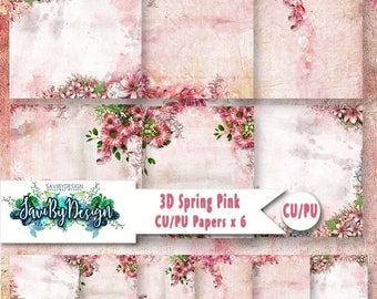CU Commercial Use Background Papers set of 6 for Digital Scrapbooking or Craft projects SPRING PINK, 3D Papers, Designer Stock Papers