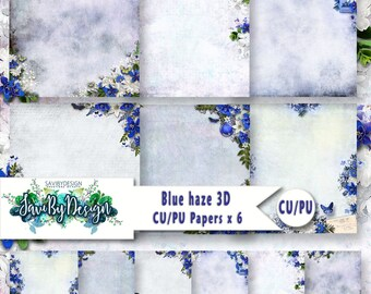 CU and PU Commercial Use Background Papers set of 6 for Digital Scrapbooking or Craft projects BLUE Haze, 3D Papers, Designer Stock Papers