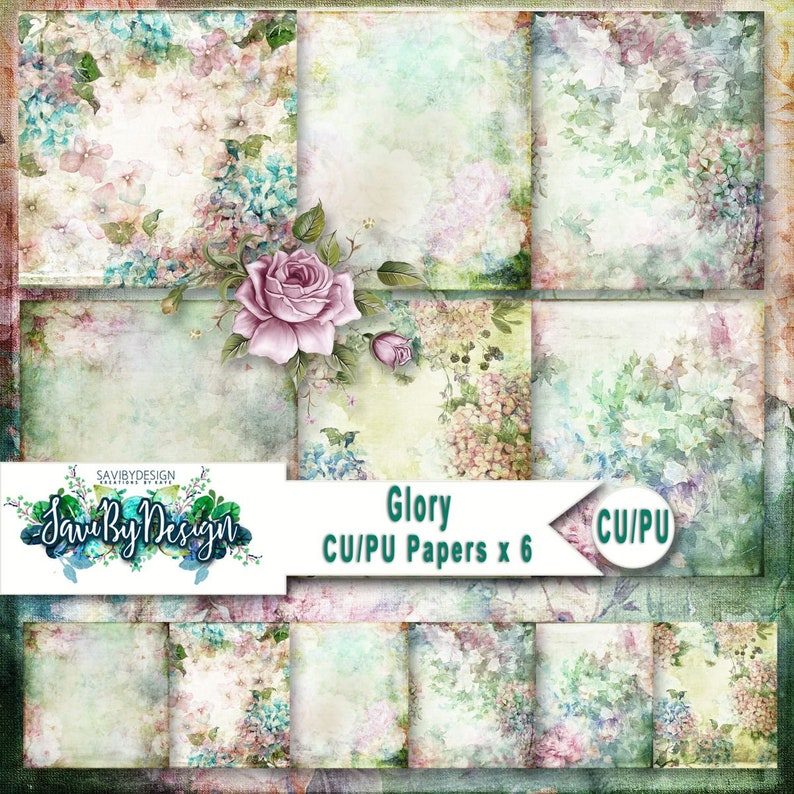 CU Commercial Use Background Papers set of 6 for Digital image 0