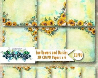 CU Commercial Use Background Papers set of 6, Digital Scrapbooking, Craft projects SUNFLOWERS AND Daisies, 3D Papers, Designer Stock Papers
