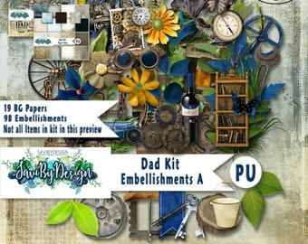 Digital Scrapbooking Kit DAD, rustic, vintage, Father, tools, Word Art Gears, Steampunk, suitable for vintage and modern Scrap Pages