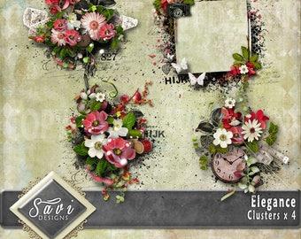 Digital Scrapbooking Clusters set of 4 - ELEGANCE premade embellishment png clusters to make immediate scrap page