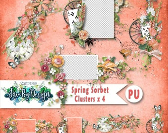 Digital Scrapbooking Clusters set of 4 - SPRING SORBET premade embellishment png clusters to make immediate scrap page