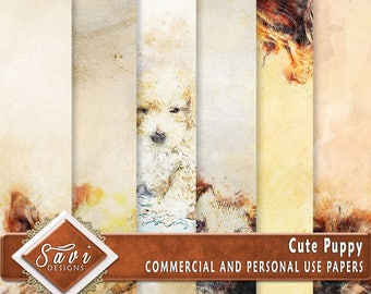CU Commercial Use Background Papers set of 6 for Digital Scrapbooking or Craft projects CUTE PUPPY Designer Stock Papers