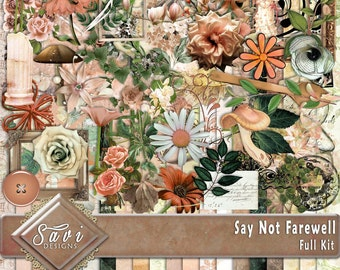 Digital Scrapbooking Kit Say Not Farewell flowers foliage suitable for vintage and modern Scrap Pages in apricot and greens