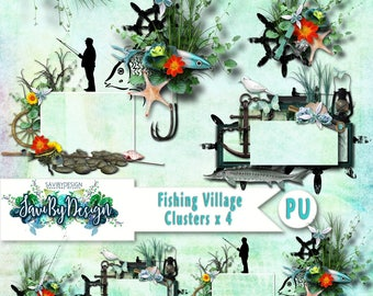 Digital Scrapbook Clusters set of 4 Fishing Village beach, sea, fish premade embellishment png clusters make QUICK scrap page