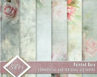Commercial and Personal Use Background Papers DESIGNER STOCk set of 6 for Digital Scrapbooking or Craft projects PAINTED ROSES Papers