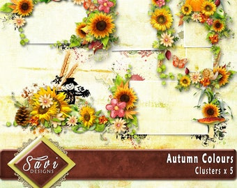 Digital Scrapbooking Clusters set of 5 - AUTUMN COLORS premade embellishment png clusters to make immediate scrap page