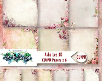 Commercial Use Background Papers set of 6 for Digital Scrapbooking or Craft projects ASHA LEE, 3D Papers roses, floral feminine