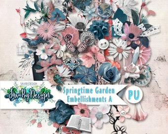 Digital Scrapbooking Kit, SPRINGTIME GARDEN full of flowers vines and leaves and some beautiful stamped elements, feminine and vintage